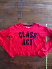 Womens AEROPOSTALE Class Act Cropped Sweatshirt Red Black super soft & comfy