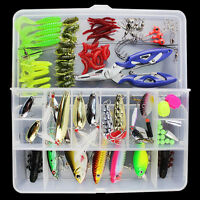 101Pcs Lot Fishing Lures Crankbaits Hooks Minnow Spinner Baits Bass Tackle w/Box