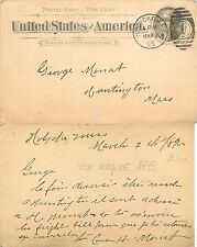 USA - Postal Card SEND TO HOLYOKE MASSACHUSSETS YEAR 1895 (S-L XX190)