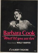 "Barbara Cook London Playbill ""Wait 'til You See Her"" 1986 MANY PHOTOS"
