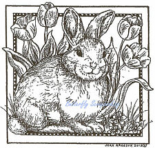 Bunny Rabbit Tulip Square Wood Mounted Rubber Stamp Northwoods Stamp MM9003 New