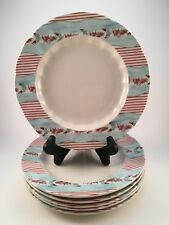 "Lot of 6 - Johnson Bros Farmhouse Chic Silky Stripe 7 5/8"" Salad Cake Plate"