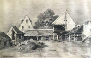 """Mortefontaine Farm Superb Charcoal Signed """" M.Mégroz 1912 Oise 42 CM Per 27 CM"""