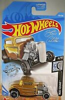 2019 Hot Wheels #105 Rod Squad 4/10 '32 FORD Gold Variation w/Black St8 Spokes