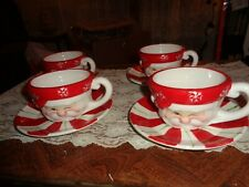 Set Of 4 Winking Santa Cups & Saucers-Never Used