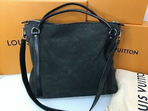 LOUIS VUITTON  Antheia Ixia Monogram Noir Leather Suede Tote Shoulder Bag