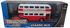 Teamsterz Classic Red & White Bus With Evening News Advert Double Decker Bus NEW