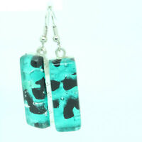 Murano Glass Drop Earrings Blue Green Handmade Authentic Millefiori Venetian