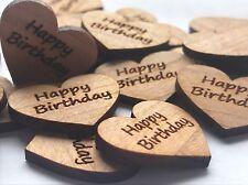 50 Streudeko Holz Herz Tischdeko HAPPY BIRTHDAY Geburtstag Dekoherzen Streuteile