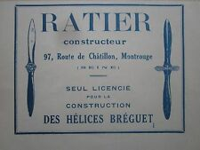 1926 PUB RATIER MONTROUGE HELICE BREGUET AVION AVIATION ORIGINAL FRENCH AD