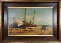 MARINE. BOATS ON THE BEACH. OIL ON CANVAS. JUAN VIDALLER TWENTIETH CENTURY.