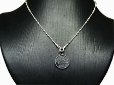 STERLING SILVER 925 OLD COIN PENDANT PLATED BLACK NECKLACE XMAS GIFT WOMEN GIFT