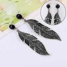 Vintage Black Silver Long Leaf Drop Stud Dangle Earrings Fashion Women Jewelry