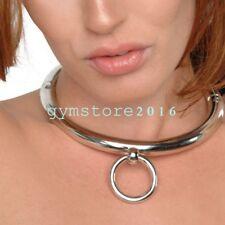 Stainless Steel Slave Round Neck Collar Restraints Locking Choker Bondage SM Toy