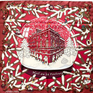 Hermes Scarf Stole Noel au 24 Faubourg Red X'mas Christmas Silk Woman New 90 cm