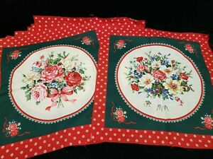 Vintage Quilt Block Kit Printed Flowers Foliage Ribbons & More Pillow Tops RED