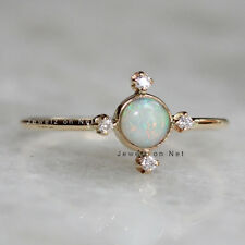 Genuine Opal Gemstone Ring Handmade 14k Yellow Gold Natural Diamond Fine Jewelry