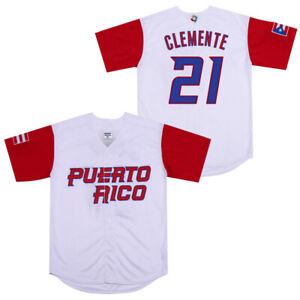 Roberto Clemente #21 Javier Baez Puerto Rico World Classic Baseball Jersey Men