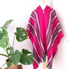 Hooded Blanket Poncho Hot Pink Fringed Aztec Striped Coat Cape Peruvian Boho