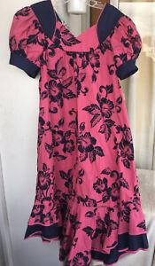 "Hawaiian MuuMuu   XL Large   Pink Blue ""Carol Bennett"" Long Hawaii MuMu Dress"