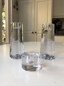 3 PIECES POTTERY BARN TAPERED GLASS CANDLESTICKS PILLAR CANDLE HOLDERS