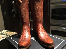 LUCHESSE Men's BOOTS LEATHER W/ CAIMAN INSETS. TOOLED. SIZE 9D
