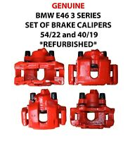 GENUINE BMW E46 3 SERIES SET OF BRAKE CALIPERS CARRIERS 54/22 & 40/19REFURBISHED