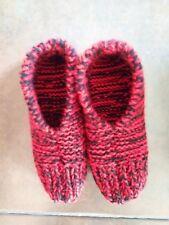 Men's Hand Knit Slippers - Black and Red for Chicago Blackhawks