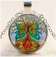 Flower Tree of Life Cabochon Glass Tibet Silver Chain Pendant Necklace