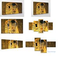 Quadro Moderno Klimt IL Bacio Stampa su Tela Canvas Vernice Pennellate a Rilievo