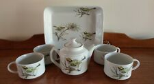 """Vintage 1976 Enesco Fine China """"Song Bird"""" Teapot, Serving Tray and 4 Mugs"""