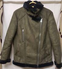Topshop biker style faux suede khaki green coat, black faux fur lining size 10