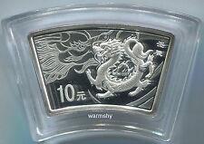 China 2012 Lunar Zodiac Dragon Year Fan-shaped Silver Coin 1 oz 10 Yuan UNC