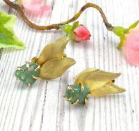 Vintage Green Agate or Jade Leaf Clip On Earrings