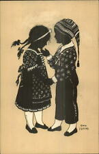 Alwin Freund - Boy & Girl in Costumes - Silhouette c1910 Postcard