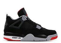Nike Air Jordan 4 Retro OG Bred 2019 308497-060 Black Fire Red-Cement Grey Mens