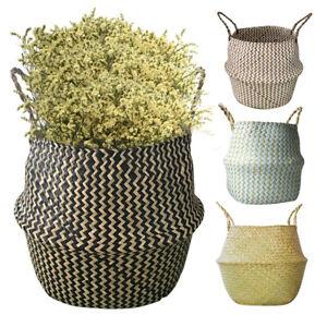 Foldable Seagrass Belly Basket Flower Plant Storage Wicker Basket Home Decor UK!