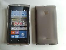 Custodia cover guscio silicone nera trasparente per Microsoft (nokia) lumia 532