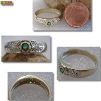 Smaragd Ring mit Diamanten 585 Gelbgold 14k Gold