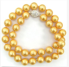 """18"""" 9-10mm natural south sea genuine round gold pearl necklace AAAA"""