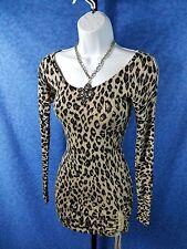GUESS Women's Size XS Long Sleeve Leopard Drawstring Bodycon Sweater Dress #1371