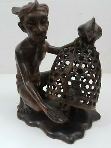 Vintage Klungkung Bali Hard Wood Carved Man With Chickens Cage Sculpture