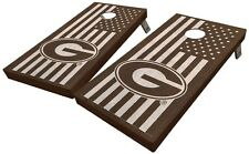 Custom University of Georgia Stained American Flag Cornhole Board Set