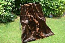 Genuine Real Sheared Muskrat Mink + River Otter Fur Throw Blanket 56X43 rug 3660