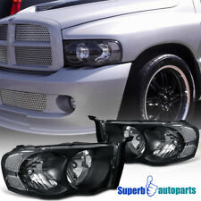 2002-2005 Dodge Ram 1500 2500 Crystal Headlight Head Lamps Black