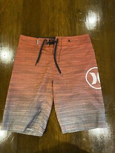 HURLEY Red Gray Board Shorts Men's size 30-32 Waist Swimming Trunks