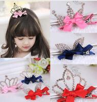 Crystal Crown Baby Kids Girls Princess Hair Clip Shiny Rabbit Ears Hair Clip Top