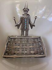 RARE French CLOWN Art DECO Soap Dish Sponge Holder Silver Plate Antique Figural