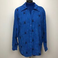 Lemon Grass Women Size 2X Long Sleeve  Blue Down Micro Teal Embroider Shirt