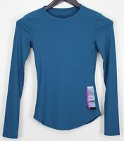 NO BOUNDARIES XS Women's Top NWT Long Sleeve Crew Ribbed Knit Turquoise Blue